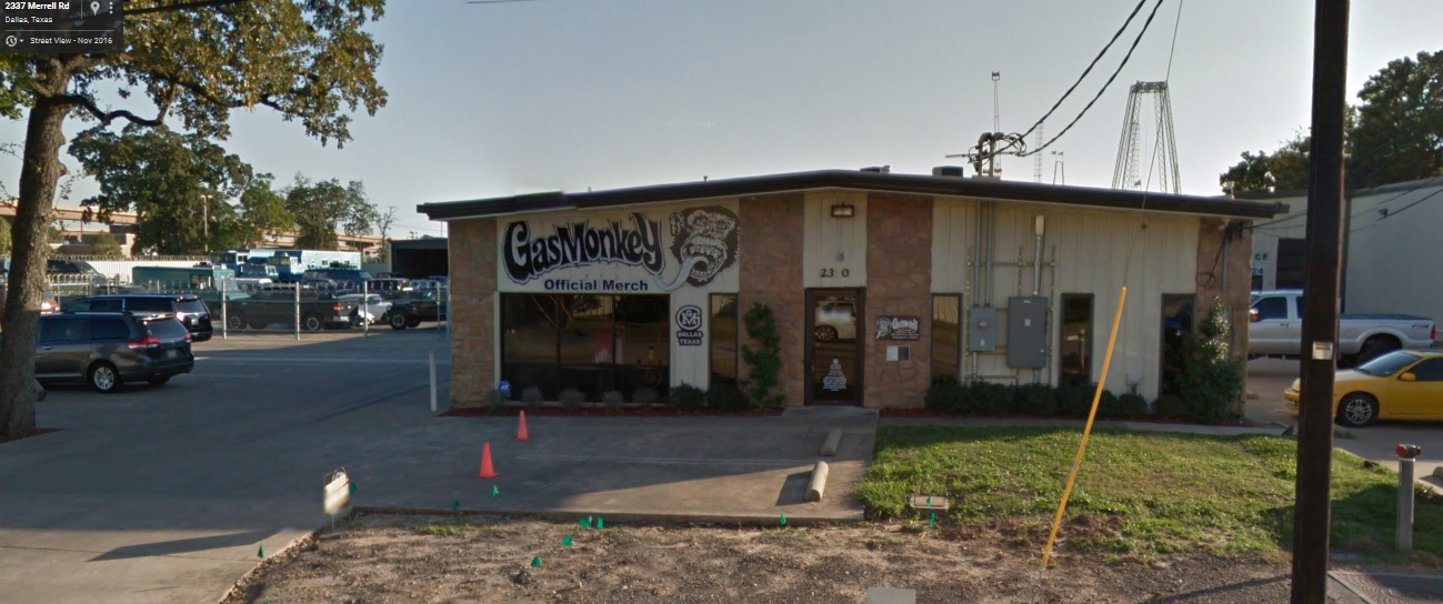 gas monkey merchandise shop location global film locations. Black Bedroom Furniture Sets. Home Design Ideas